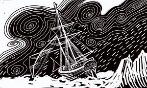 Ship is storm, Arctic